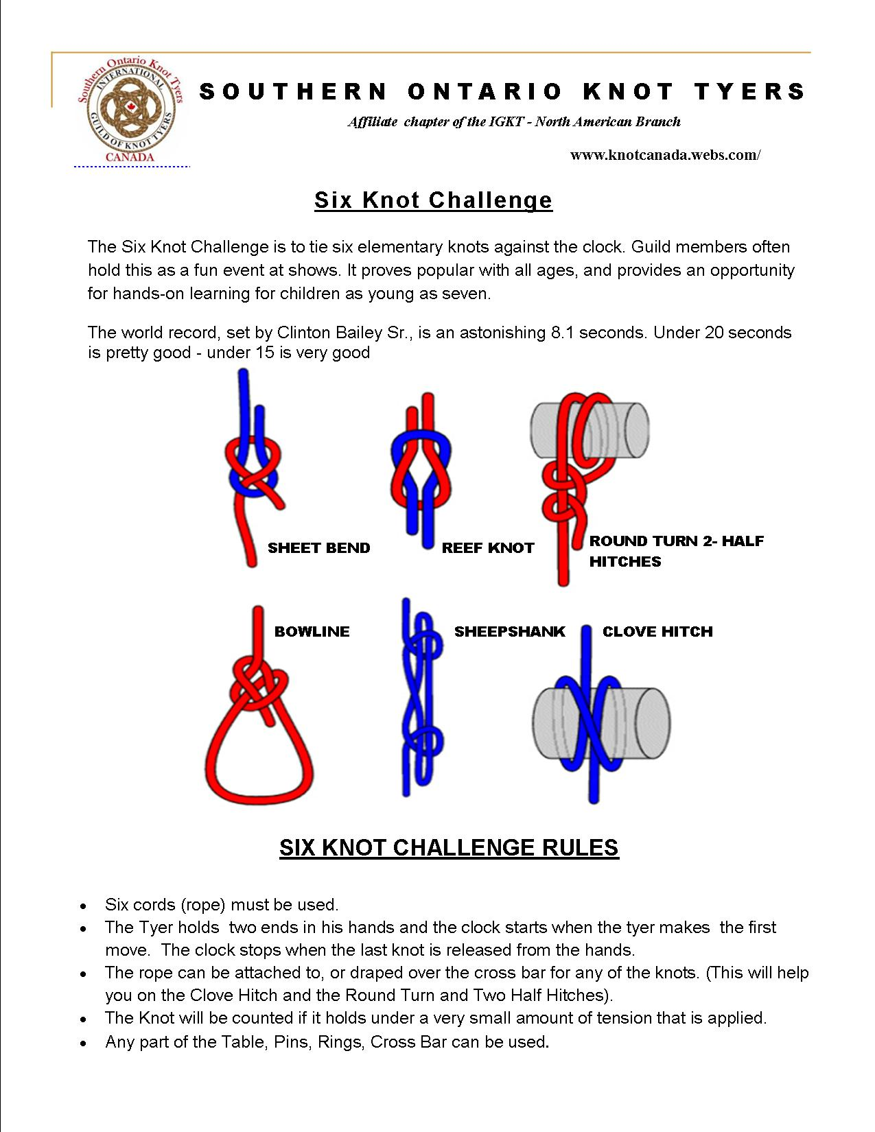 The Six Knot Challenge (Image Credit: Knot Canada)
